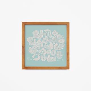 IDÉE×BIRDS' WORDS graphic flower Blue × Light beige