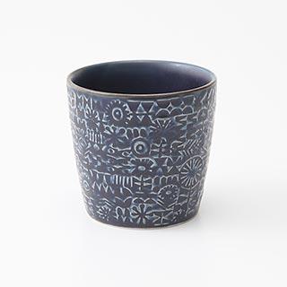 patterned cup Cobalt Blue
