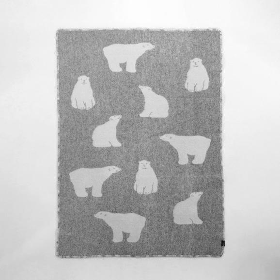 【写真】【IDEE別注】LINCASA ウールブランケット 90×130 Bear グレー