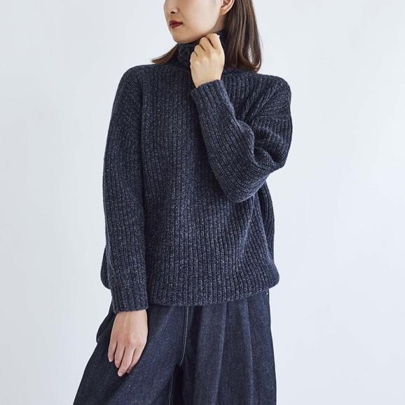 【写真】H& by POOL Wool Turtle-neck Sweater Navy 2021AW