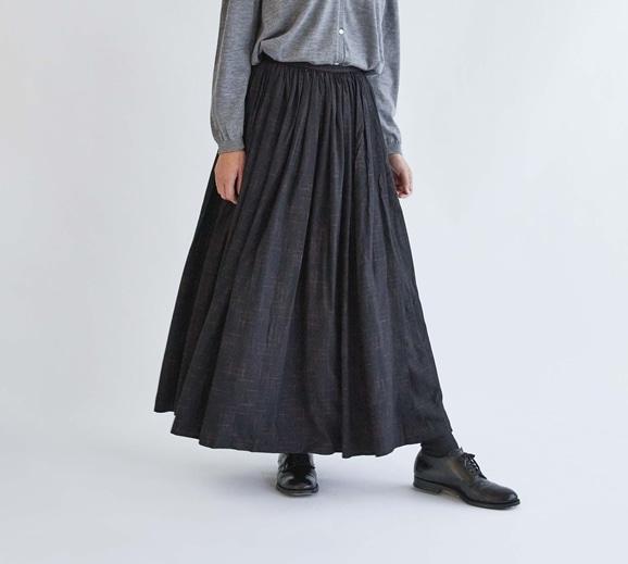 【写真】H& by POOL Gathered Skirt Black×Red plaid 2021AW