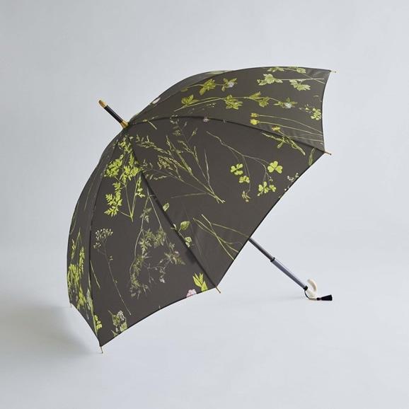 【写真】イイダ傘店 晴雨兼用傘 押花 チャコール 55cm