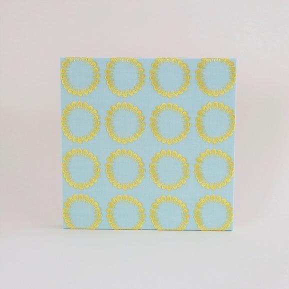 【写真】イイダ傘店 ファブリックパネル 刺繍 トウモロコシ ブルー