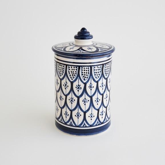 【写真】【モロッコ買付品】陶器キャニスター L ネイビー
