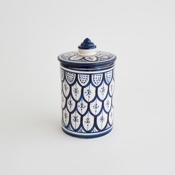 【写真】【モロッコ買付品】陶器キャニスター S ネイビー