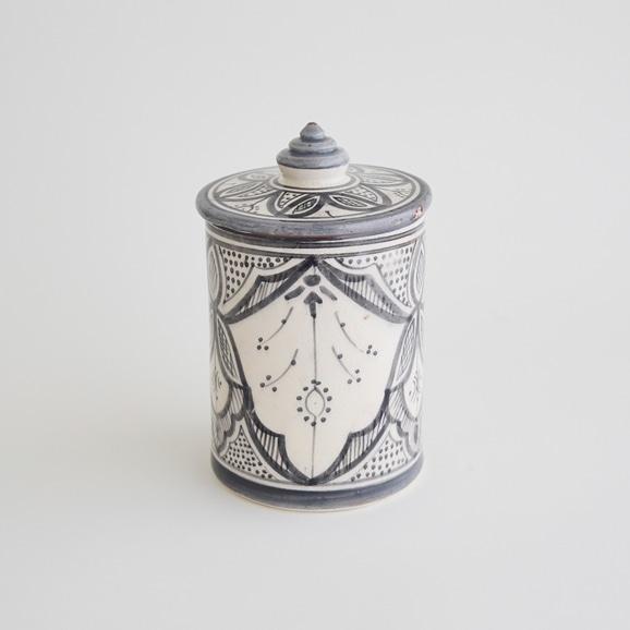 【写真】【モロッコ買付品】陶器キャニスター L グレー