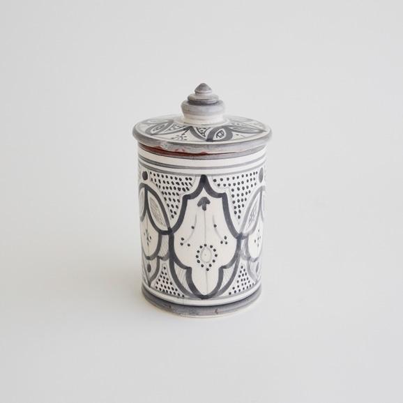【写真】【モロッコ買付品】陶器キャニスター S グレー