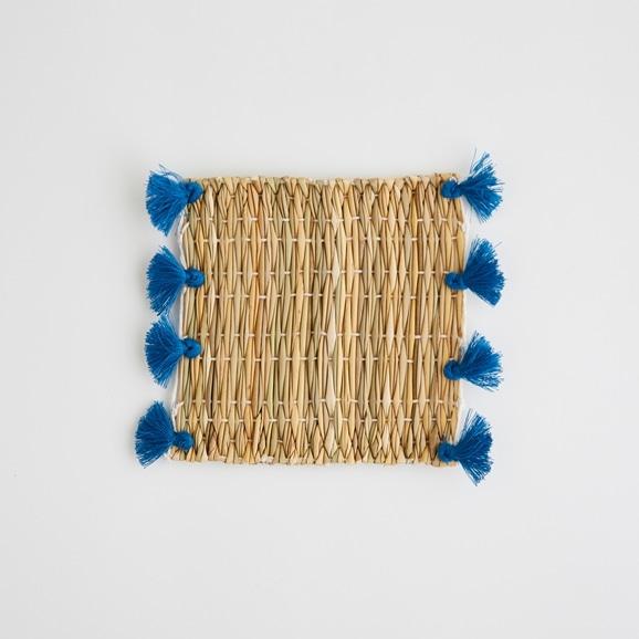 【写真】50★【モロッコ買付品】タッセル コースター ブルー