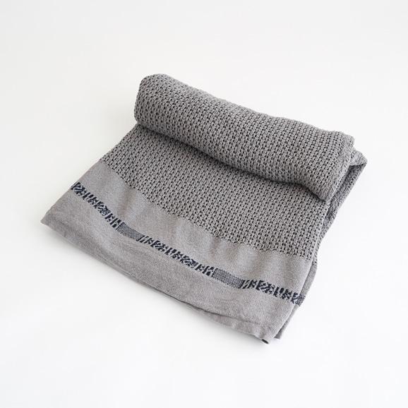 【写真】Barker Textile コットンブランケット HELSETEPPER グレー