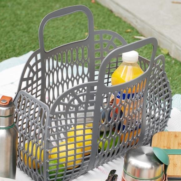 【写真】PUEBCO プラスチック マーケットバッグ L グレー