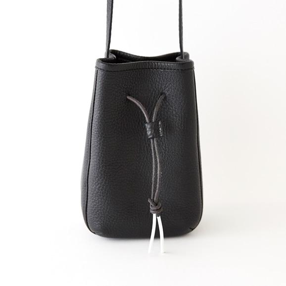 【写真】トルコレザー巾着バッグ ブラック