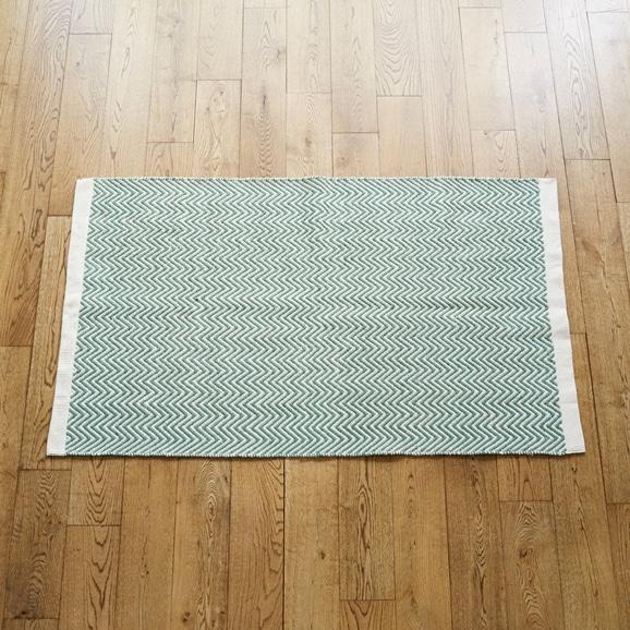 【写真】Classical Handmade Products ヘリンボーンラグ 90×150 グリーン