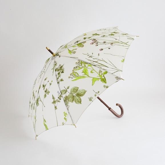 【写真】イイダ傘店 晴雨兼用傘 押花 ベージュ 50cm