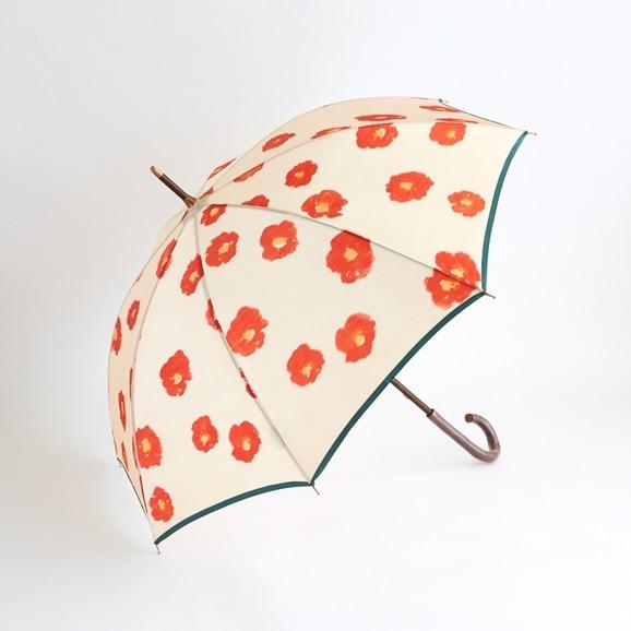 【写真】イイダ傘店 雨傘 椿 ベージュ 55cm