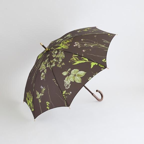 【写真】イイダ傘店 晴雨兼用傘 押花 チャコール 50cm