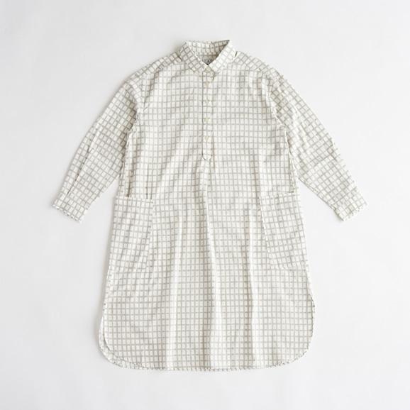 【写真】POOL いろいろの服 コットンツイルチェックシャツワンピース ライトグレー 2021SS