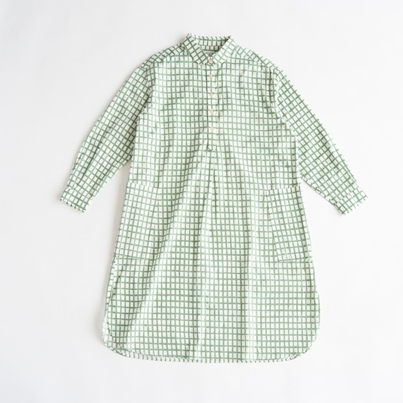 【写真】POOL いろいろの服 コットンツイルチェックシャツワンピース ミント 2021SS