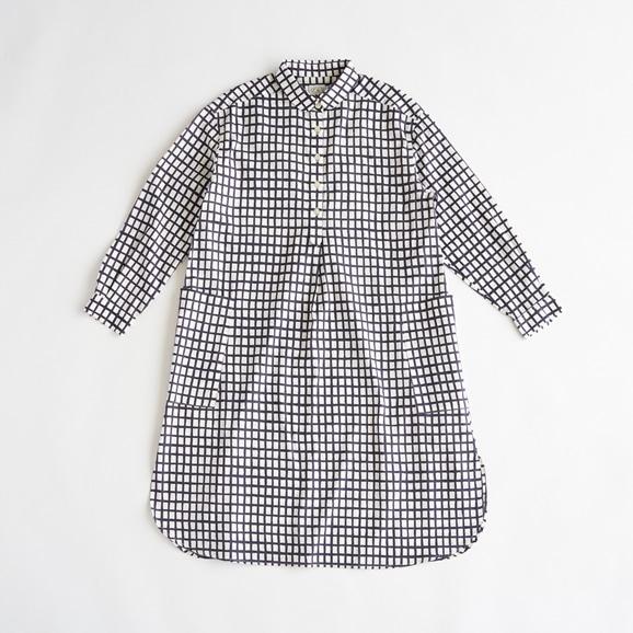 【写真】POOL いろいろの服 コットンツイルチェックシャツワンピース ネイビー 2021SS