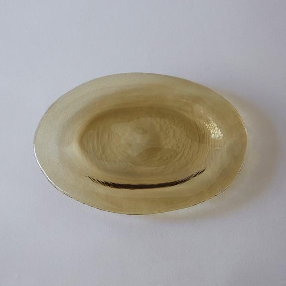 【写真】菅原工芸硝子 ガラスオーバル皿 タン
