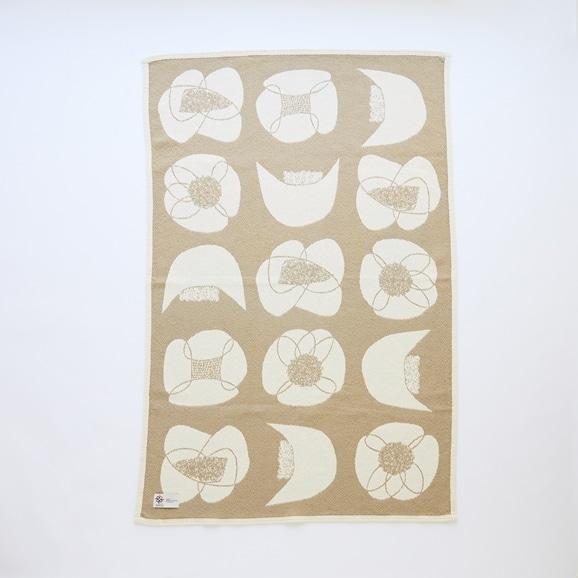 【写真】【IDEE限定】Barker Textile コットンブランケット 山口一郎 Flower ベージュ