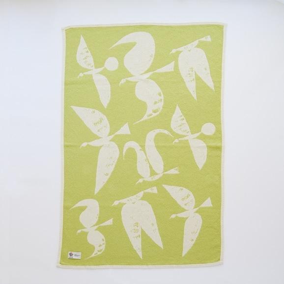 【写真】【IDEE限定】Barker Textile コットンブランケット 山口一郎 Bird ライトグリーン