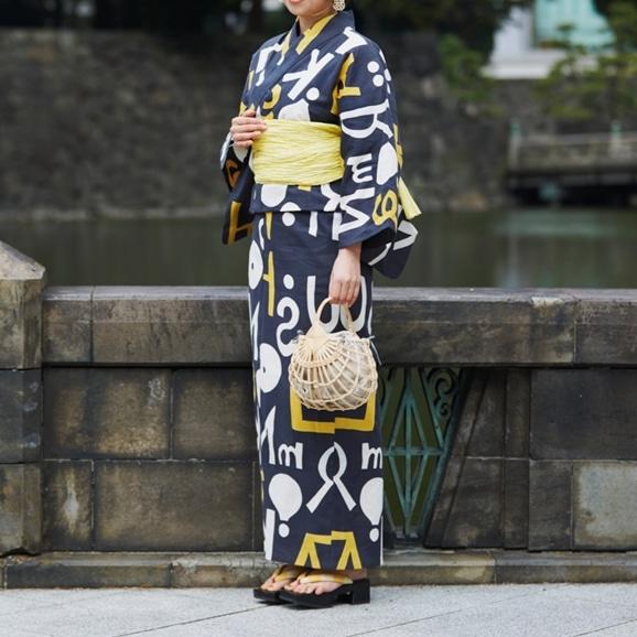 【写真】【IDEE TOKYO限定】柚木沙弥郎デザイン KUTSUROGI 浴衣 アルファベット グレー×イエロー