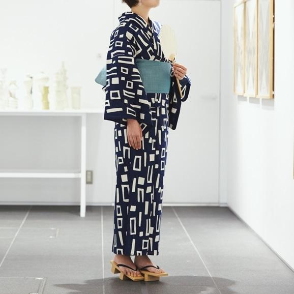 【写真】【IDEE TOKYO限定】柚木沙弥郎デザイン KUTSUROGI 浴衣 ブロック ネイビー