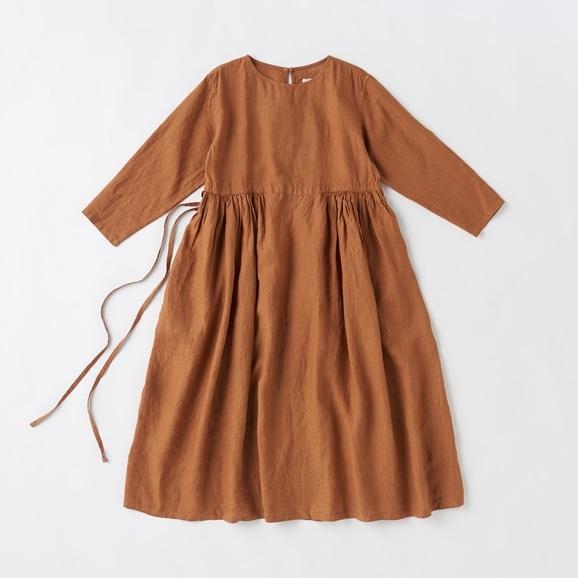 【写真】POOL いろいろの服 ギャザーワンピース ブラウン 2020AW