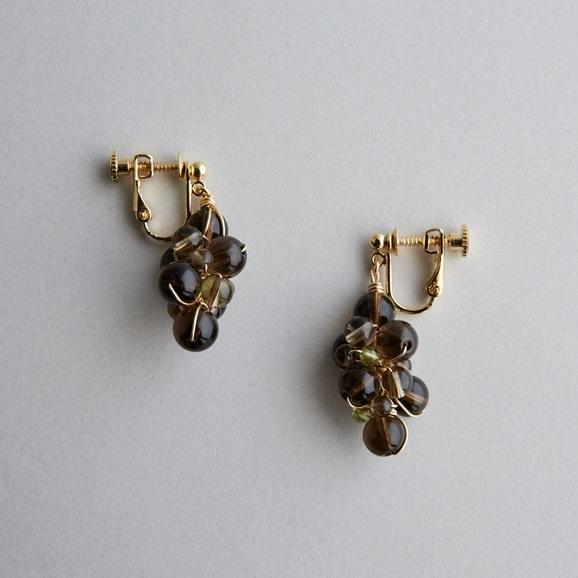 【写真】asumi bijoux asatsuyu earring smoky quartz