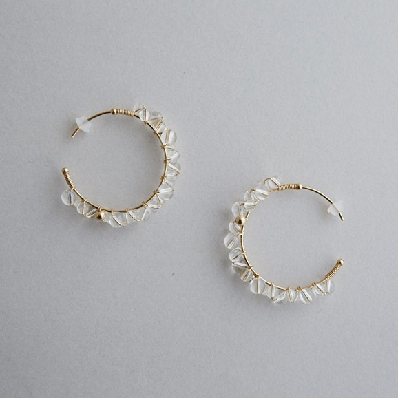 【写真】asumi bijoux asatsuyu ring hoop pierce crystal