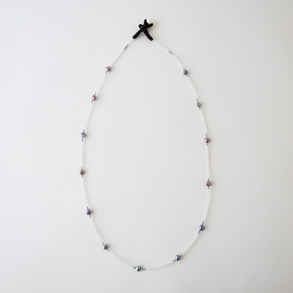 【写真】sai Necklace Moonstone,Gray Pearl & Pyrite