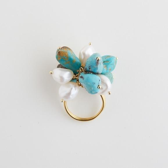 【写真】sai Ring Turquoise & Pearl