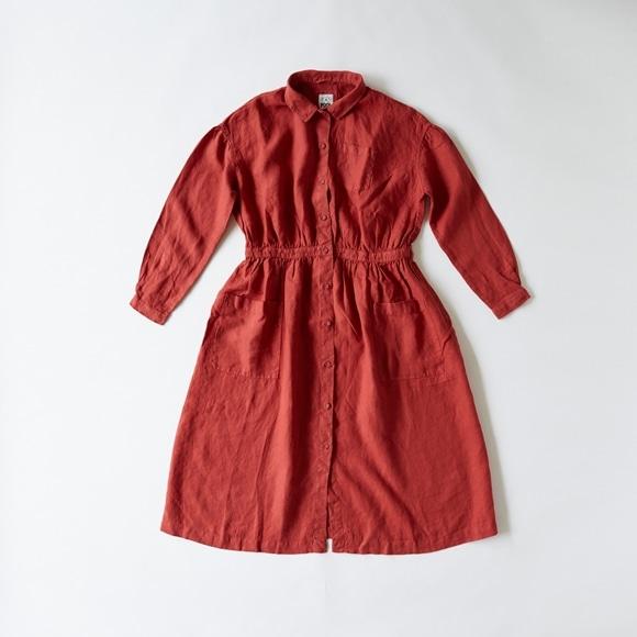 【写真】【Archive】POOL いろいろの服 アトリエシャツワンピース レッド