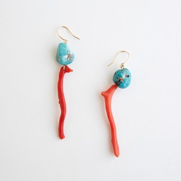 【写真】sai Pierce Red coral & Turquoise