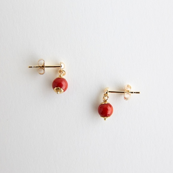 【写真】sai Pierce Red coral & Stud k10