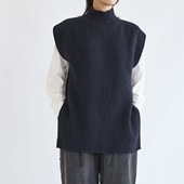 H& by POOL Wool Sweater Vest Navy 2021AW