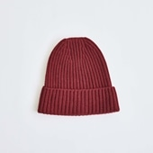 H& by POOL Cashmere Knitted Hat Dark Red 2021AW
