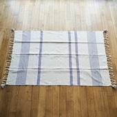 【モロッコ買付品】コットンマルチカバー グレー×ブルー