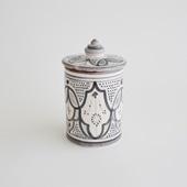 【モロッコ買付品】陶器キャニスター S グレー