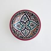 【モロッコ買付品】飾り皿 レッド