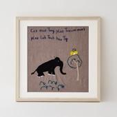 【一点物】モン族の刺繍アート「シカとフクロウ 003/11」
