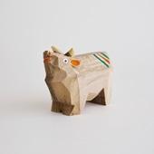 【丑の郷土玩具】木彫りの牛 大