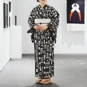 【IDEE TOKYO限定】柚木沙弥郎デザイン KUTSUROGI 浴衣 ブロック グレー