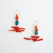 sai Pierce Red coral & Turquoise